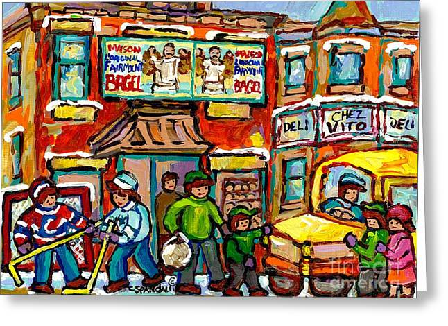 Favorite Montreal Bagel And Butcher Shops Rue Fairmount Winter Hockey Game Painting For Sale  Greeting Card