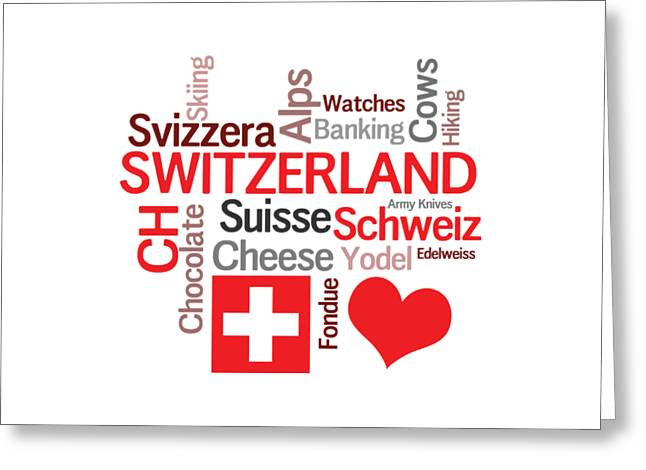 Favorite Swiss Things Greeting Card by Antique Images