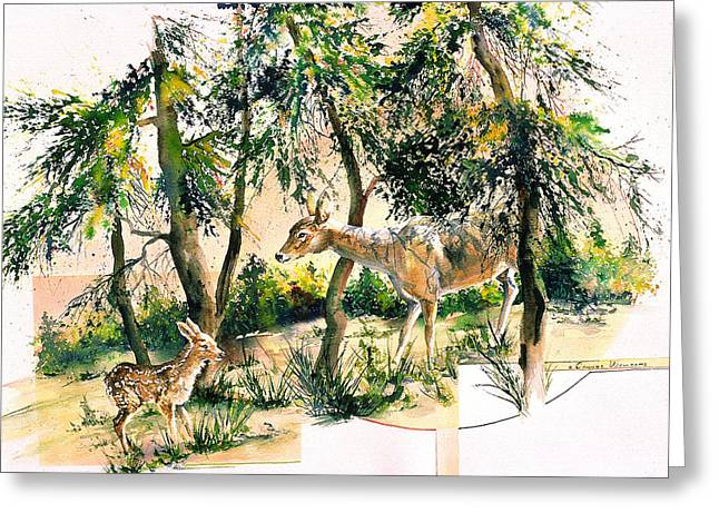 Fawn And Doe Greeting Card
