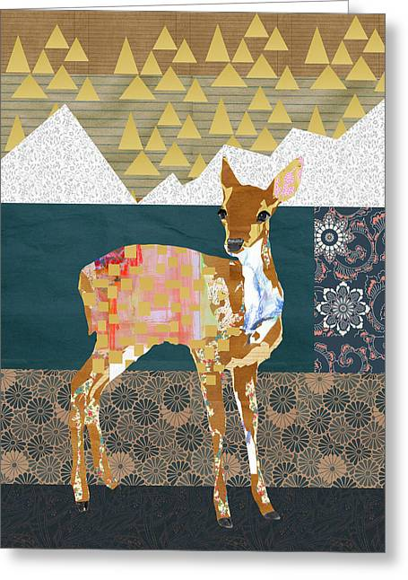 Fawn Collage Greeting Card by Claudia Schoen
