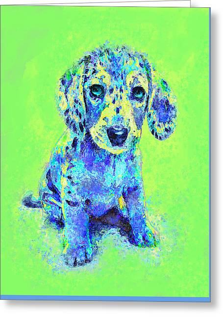 Green And Blue Dachshund Puppy Greeting Card