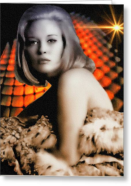 Faye Dunaway - Digital Painting Greeting Card by Ian Gledhill