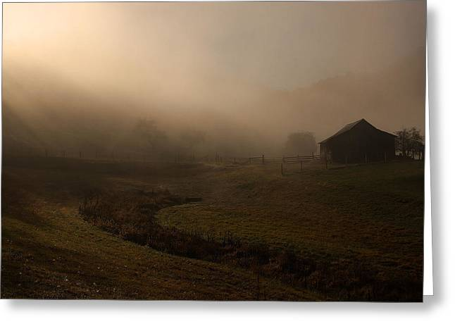 Fayette Co. Foggy Farm Greeting Card by Robert  Suits Jr