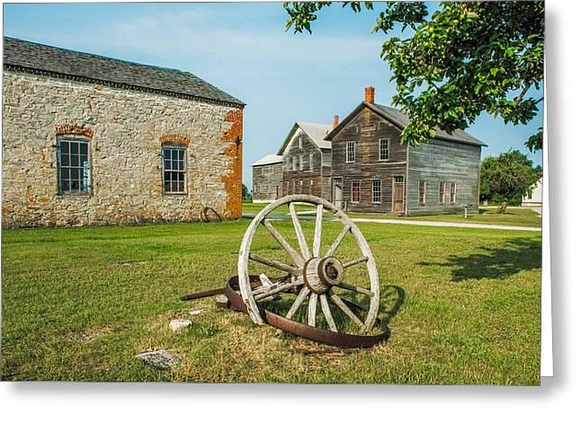 Fayette Wagon Wheel Greeting Card by Paul Freidlund