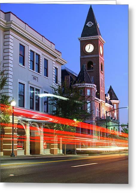 Fayetteville Arkansas Skyline At Night Greeting Card