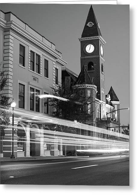 Fayetteville Arkansas Skyline At Night In Black And White Greeting Card