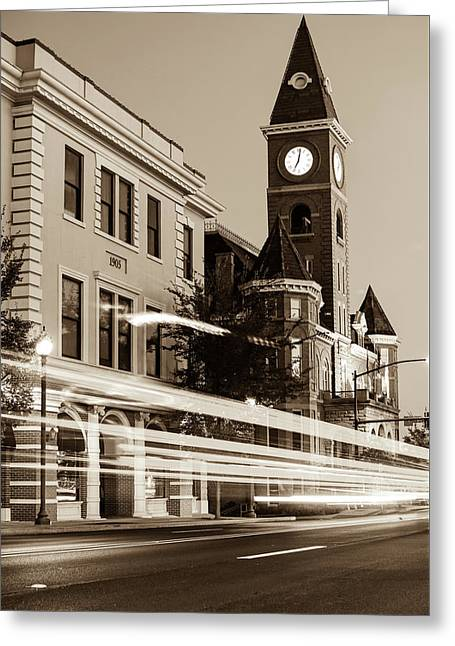 Fayetteville Arkansas Skyline At Night In Sepia Greeting Card