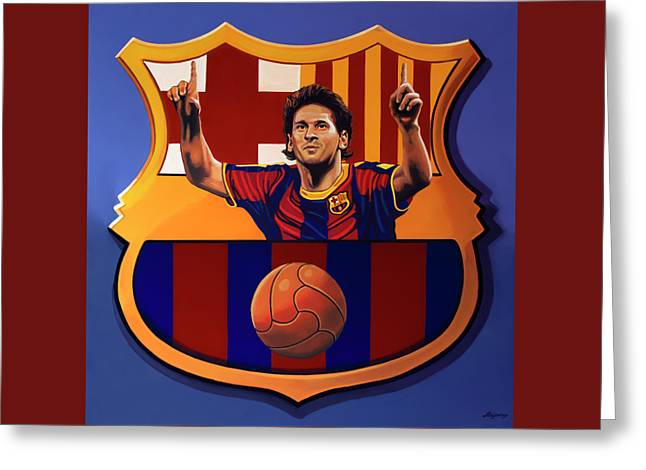 Fc Barcelona Painting Greeting Card by Paul Meijering