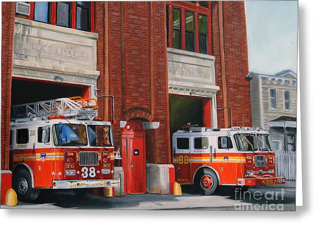 City Scenes Paintings Greeting Cards - FDNY Engine 88 and Ladder 38 Greeting Card by Paul Walsh