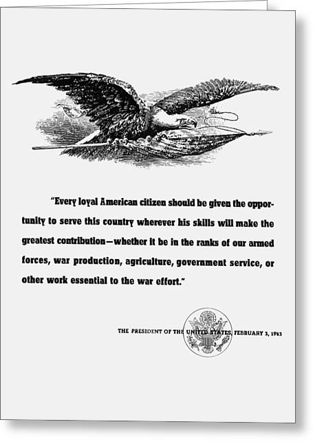 Fdr War Quote Greeting Card