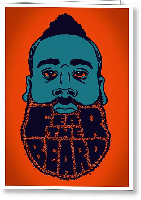Basketball Sports Digital Art Greeting Cards - Fear The Beard Greeting Card by Jack Perkins