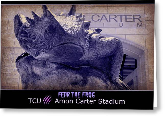 Fear The Frog - Tcu Poster Greeting Card by Stephen Stookey