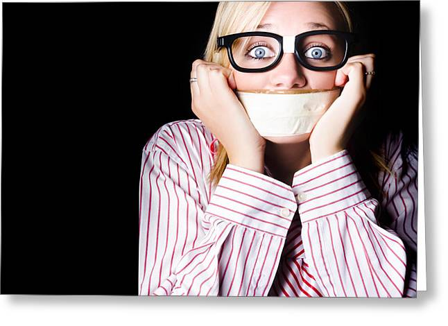 Fearful Business Nerd Silenced With Mouth Tape Greeting Card