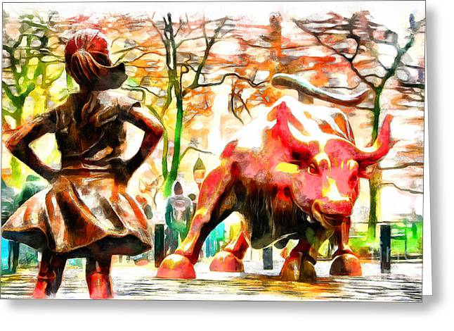 Fearless Girl And Wall Street Bull Statues 10 Greeting Card