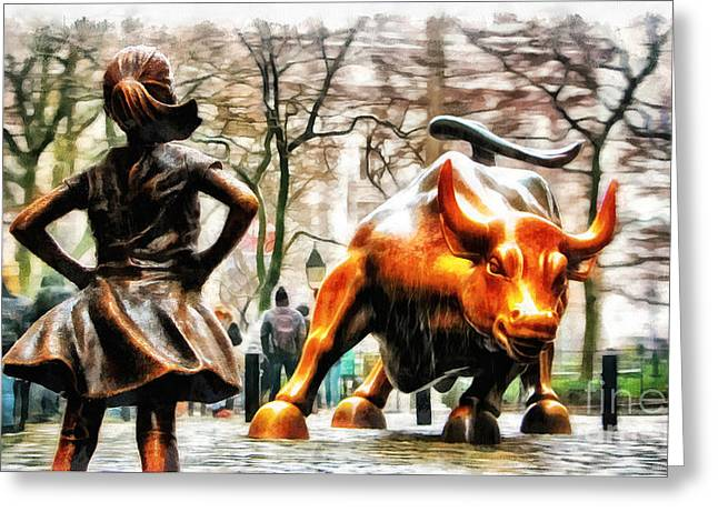 Fearless Girl And Wall Street Bull Statues 11 Greeting Card