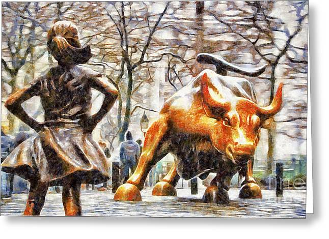 Fearless Girl And Wall Street Bull Statues 12 Greeting Card