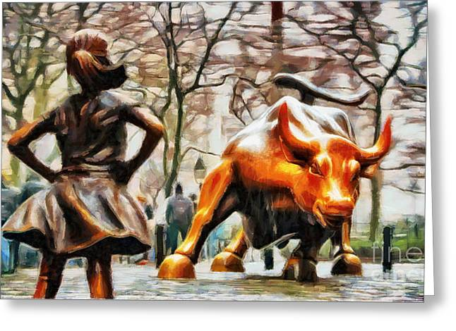 Fearless Girl And Wall Street Bull Statues 13 Greeting Card