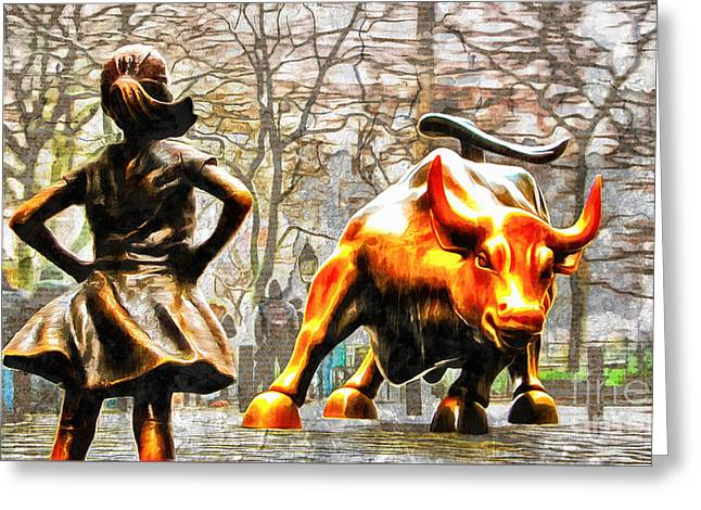 Fearless Girl And Wall Street Bull Statues 14 Greeting Card