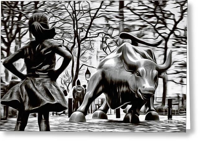 Fearless Girl And Wall Street Bull Statues 15 Monochrome Greeting Card by Nishanth Gopinathan