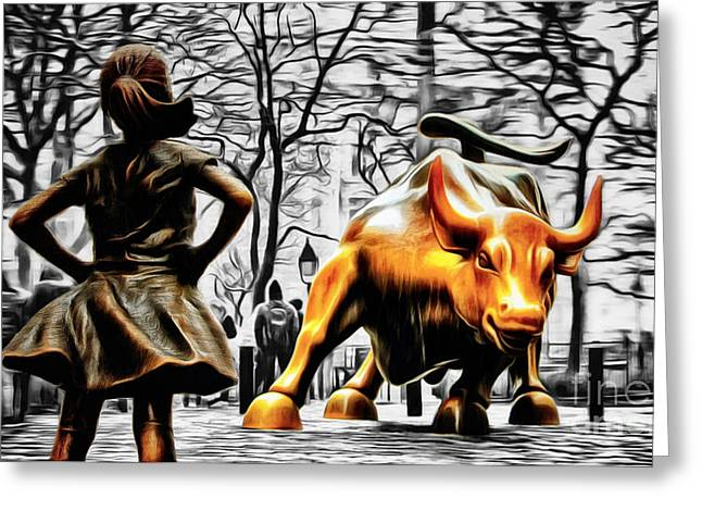Fearless Girl And Wall Street Bull Statues 15 Greeting Card