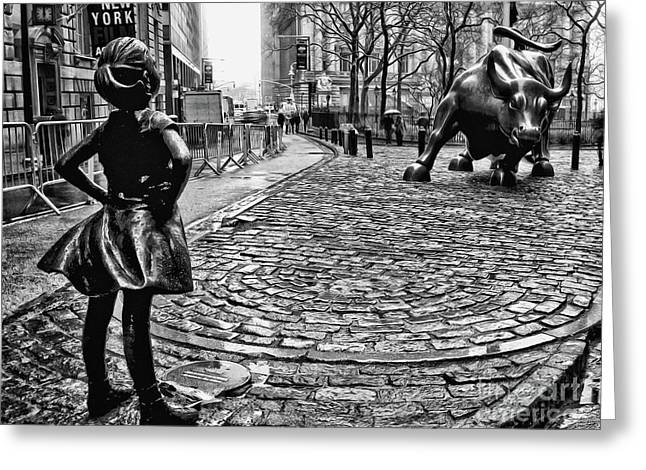 Fearless Girl And Wall Street Bull Statues 3 Bw Greeting Card