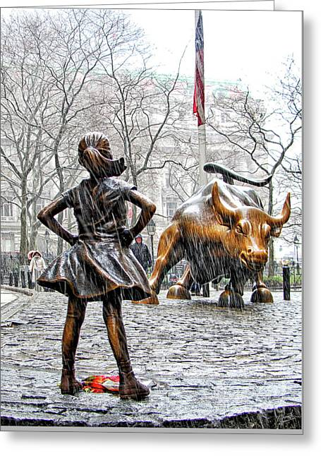 Fearless Girl And Wall Street Bull Statues 4 Greeting Card