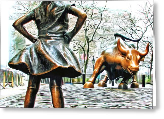 Fearless Girl And Wall Street Bull Statues 5 Version 2 Greeting Card