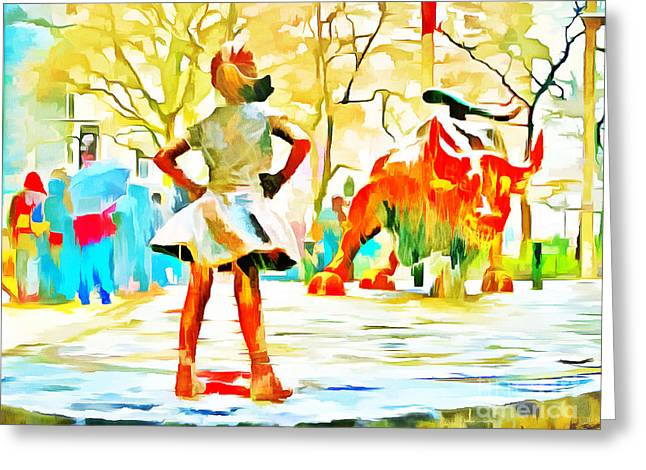 Fearless Girl And Wall Street Bull Statues 6 Watercolor Greeting Card