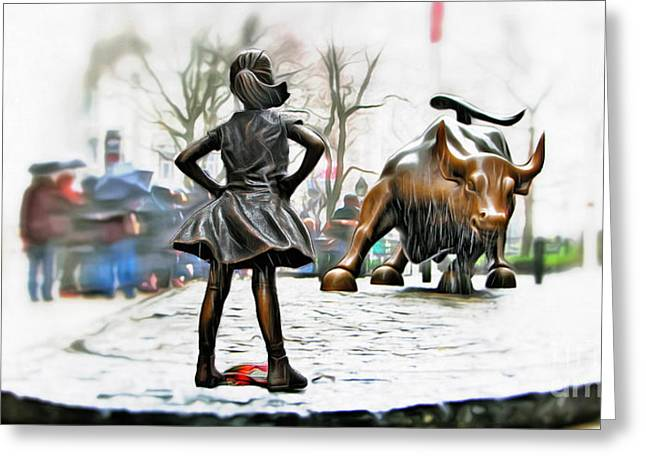 Fearless Girl And Wall Street Bull Statues 8 Greeting Card