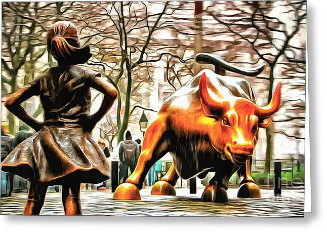 Fearless Girl And Wall Street Bull Statues 9 Greeting Card