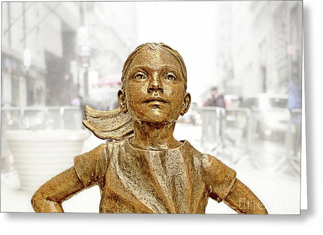 Fearless Girl Statue 1 Greeting Card by Nishanth Gopinathan