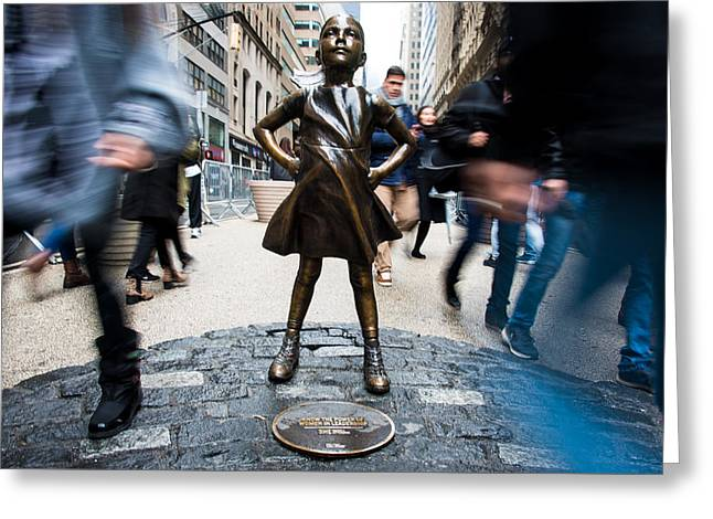 Greeting Card featuring the photograph Fearless Girl by Stephen Holst