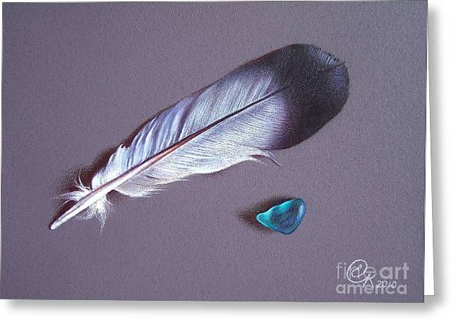 Feather And Sea Glass 1 Greeting Card by Elena Kolotusha
