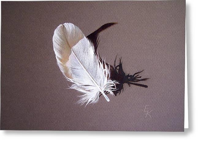 Feather And Shadow 1 Greeting Card by Elena Kolotusha