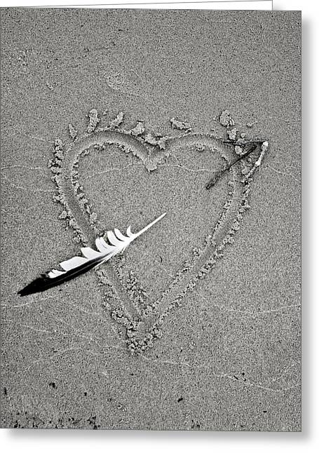 Feather Arrow Through Heart In The Sand Greeting Card