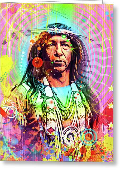 Feather Chief Greeting Card by Gary Grayson