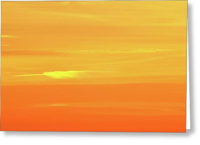 Feather Cloud In An Orange Sky  Greeting Card by Lyle Crump