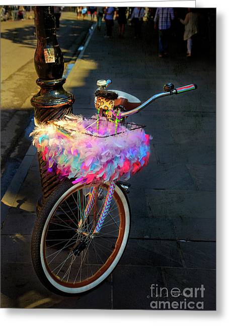 Greeting Card featuring the photograph Feather Jazz Bicycle by Craig J Satterlee