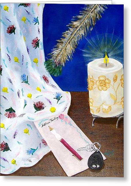 Feather Painting Greeting Card by Kathern Welsh