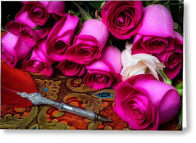 Feather Pen And Roses Greeting Card by Garry Gay