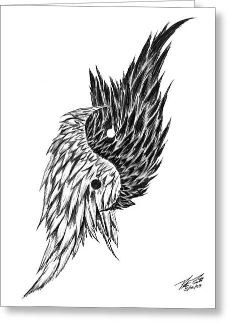 Ying Drawings Greeting Cards - Feathered Ying Yang  Greeting Card by Peter Piatt