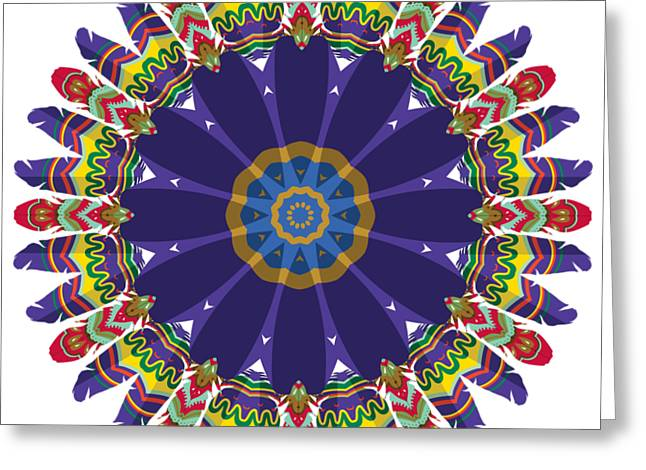 Greeting Card featuring the digital art Feathers In The Round by Mary Machare
