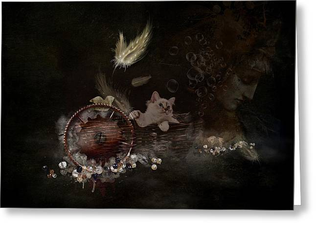 Feathers - Jewels - Thoughts Greeting Card by Monique Hierck