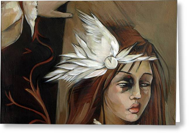 Feathers On Broken Girl Greeting Card by Jacque Hudson