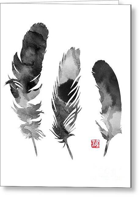 Feathers Silhouette Giclee Print Greeting Card