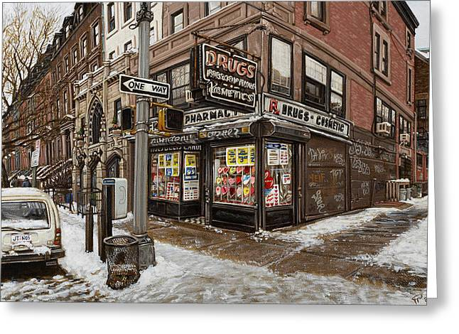 February Pharmacy Greeting Card by Ted Papoulas