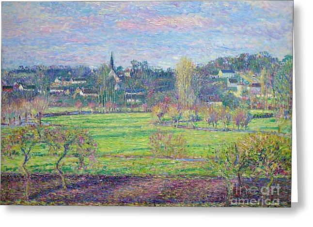 February, Sunrise, Bazincourt, By Camille Pissarro, 1893, Krolle Greeting Card by Peter Barritt