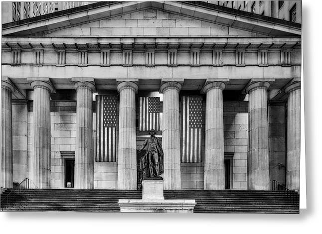 Federal Hall National Memorial Nyse Bw Greeting Card