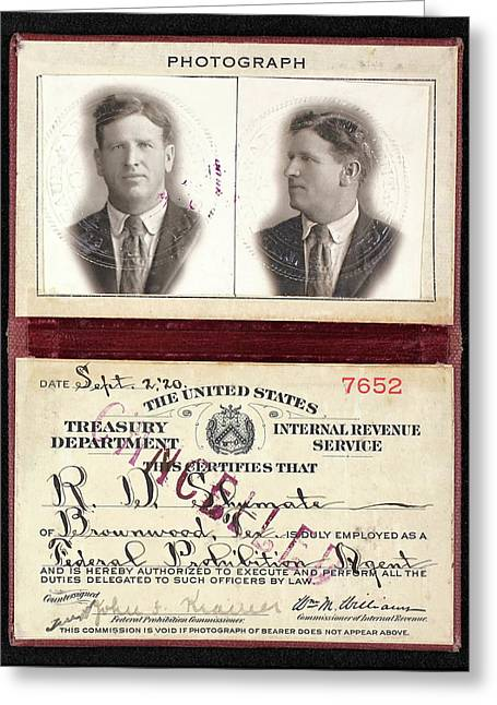 Federal Prohibition Agent R. D. Shumate  1920 Greeting Card by Daniel Hagerman