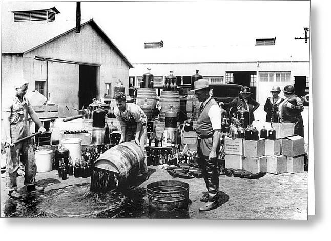 Federal Prohibition Agents Dump Liquor 1932 Greeting Card
